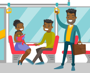 Young black people traveling by public transport. Cheerful passengers sitting and standing in commuter bus. Vector cartoon illustration isolated on white background. Square layout.