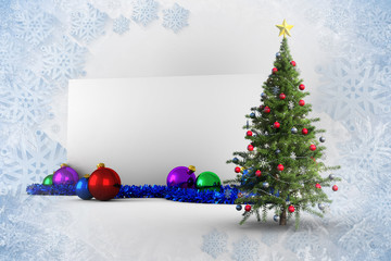 Composite image of poster with christmas tree against blue and white snowflake design