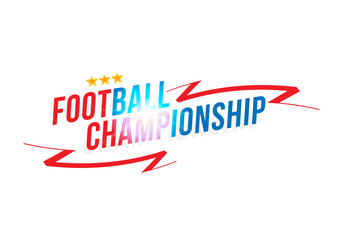 Football championship. Banner template horizontal format with a Font inscription with a bright light effect