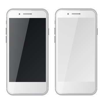 Smart phones with black and blank screens isolated on white background.