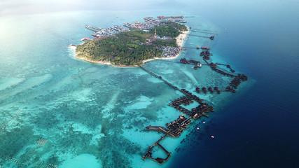 Aerial drone photo Mabul Island Malaysia