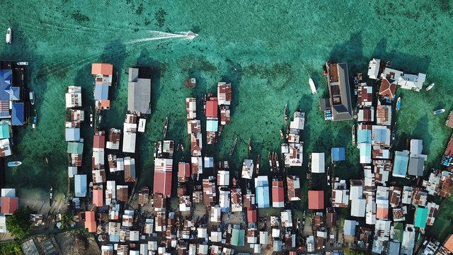 Poverty, slum. Poor fishing village in Asia