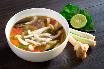 Mushroom soup (Thai called Tom Yum Hed) Thai food in white bowl