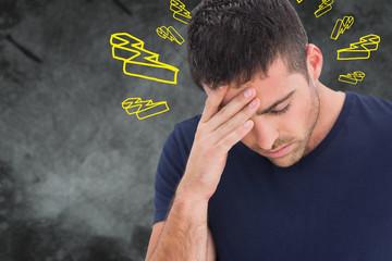 Man with headache against lightning bolt