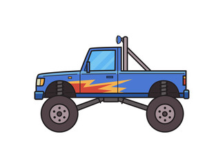 Big wheel monster truck decorated with fire pattern. Bigfoot truck, side view. Isolated image on white background. Vector illustration. Flat style.