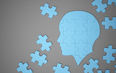Blue jigsaw puzzle as a human brain. Creative idea concept. 3d illustration