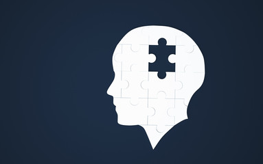 White jigsaw puzzle as a human brain on blue. Concept for Alzheimer's disease. 3d illustration