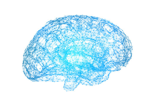 Human brain on white background in the form of artificial intelligence for technology concept, 3d illustration