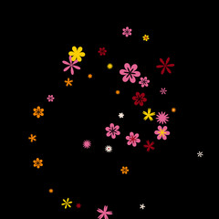 Cute Floral Pattern with Simple Small Flowers for Greeting Card or Poster. Naive Daisy Flowers in Primitive Style. Vector Background for Spring or Summer Design.