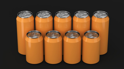 Orange soda cans standing in two raws on black background