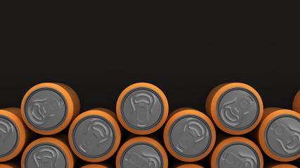 Big orange soda cans on black background