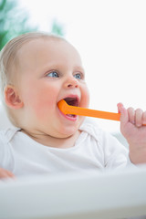 Baby holding a plastic spoon in his mouth