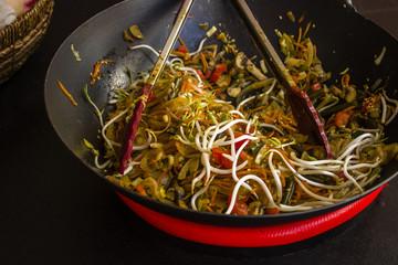 vegetables stewed in a frying pan
