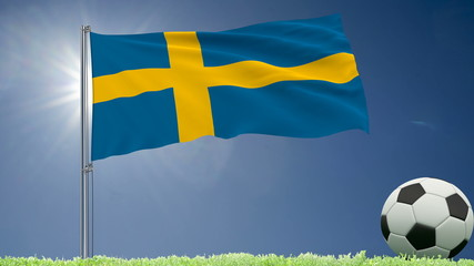Flag of Sweden fluttering and a football rolls on the lawn, 3d rendering.