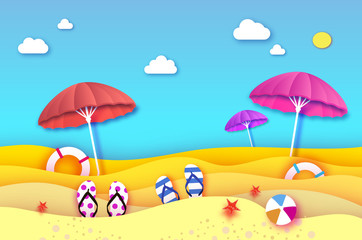 Red and pink parasol - umbrella in paper cut style. Origami sea and beach with lifebuoy. Sport ball game. Flipflops shoes. Vacation and travel concept. Summertime.