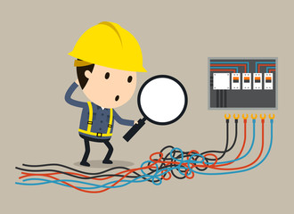 get into a tangle, Vector illustration, Safety and accident, Industrial safety cartoon