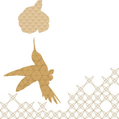 Bird isolated icon with Japanese pattern vector. Animal elements background.
