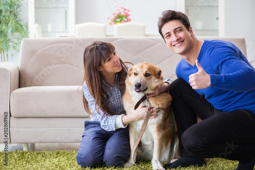 Happy Family With Golden Retriever Dog Stock Photo And Royalty Free