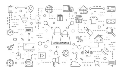 Omnichannel icons set.