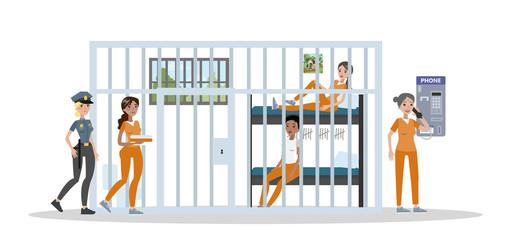 Female prison interior.