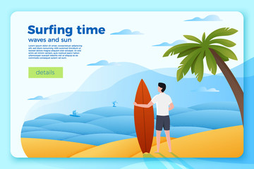 Vector bright banner template with surfer on an ocean beach, on bright summer background. With place for your text.