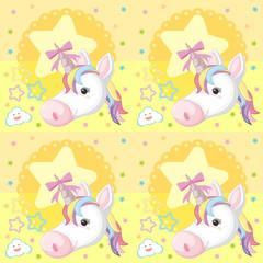Unicorn Seamless Wallpaper on Yellow