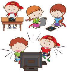 Kids Playing  Tablet and Computer Game