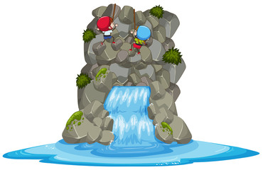 Kids Rock Climbing Over the Waterfall