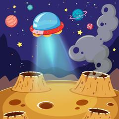 UFO Flying Over Moon in Galaxy