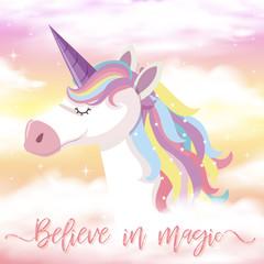 Cute Unicorn and Rainbow Background