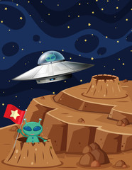 UFO and Aliens in Space Scene