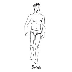 Portrait of sexy guy in briefs type of swimsuit with inscription, hand drawn outline doodle, sketch in pop art style, black and white vector illustration