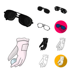 Golf and attributes cartoon,black,flat,monochrome,outline icons in set collection for design.Golf Club and equipment vector symbol stock web illustration.