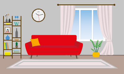Living room interior. Vector background with sofa, shelf, pictures and window with curtains. Home or house design. Modern decor. Vector illustration.