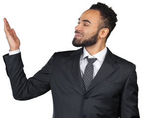 Black man businessman making presentation isolated on white background