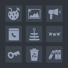Premium set of fill icons. Such as office, drink, megaphone, cold, image, dinner, old, key, message, summer, waste, alcohol, recycling, blank, plate, communication, food, cocktail, white, folder, loud