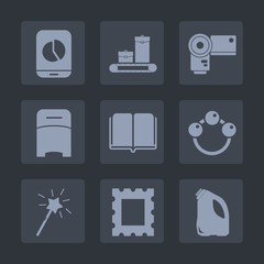 Premium set of fill icons. Such as equipment, picture, rattle, photography, bed, digital, interior, furniture, book, baggage, chart, literature, baby, library, bag, wand, photographer, hotel, mobile