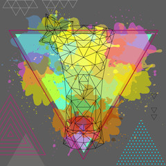 Hipster polygonal cocktail absinthe on artistic watercolor background