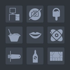 Premium set of fill icons. Such as dinner, work, ice, bottle, girl, theater, desk, astronomy, space, bowl, flash, beauty, card, cream, computer, female, restaurant, cone, memory, noodle, food, picture
