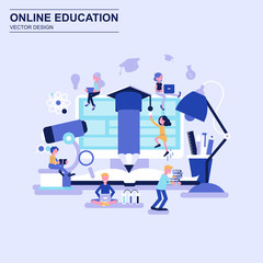 Online education flat design concept blue style with decorated small people character.