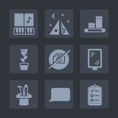 Premium set of fill icons. Such as luggage, list, suitcase, checklist, plant, music, travel, melody, photo, white, leisure, mark, note, picture, bag, baggage, talk, landscape, adventure, room, tent