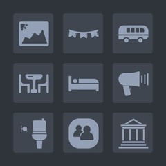 Premium set of fill icons. Such as bank, transportation, photo, banking, wc, money, picture, old, hotel, holiday, celebration, group, bathroom, road, bed, business, photography, public, communication
