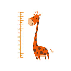 Scale for measuring kids growth and funny giraffe. Animal with long neck and spotted body. Wall decor for children room. Flat vector design