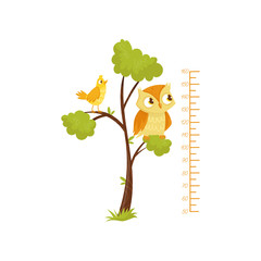 Kids height chart and birds sitting on branches of tree. Scale of growth. Decorative wall sticker for children room. Flat vector design