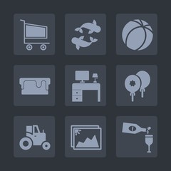 Premium set of fill icons. Such as tractor, glass, business, decoration, cart, photo, store, office, sweet, wine, picture, sale, sea, shop, purchase, alcohol, celebration, buy, desk, animal, fish, red