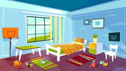 Child room vector illustration of kid boy bedroom interior background. Cartoon flat design of teen children room furniture bed, drawer and chair on carpet, basketball sports game equipment and toys