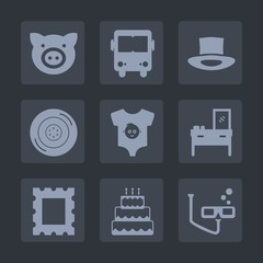Premium set of fill icons. Such as tire, wheel, furniture, interior, hog, agriculture, bus, road, car, cake, swine, dessert, animal, scuba, pie, clothes, food, piggy, picture, cabinet, hat, frame, kid