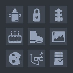 Premium set of fill icons. Such as plastic, fitness, pie, kid, sign, milk, baby, delicious, lock, dessert, pastry, gym, chocolate, mask, key, picture, sweet, paper, healthy, frame, bar, nutrition
