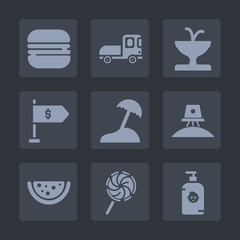 Premium set of fill icons. Such as car, fun, cargo, location, water, island, dinner, space, truck, travel, hamburger, architecture, art, child, shipping, delivery, astronaut, kid, exploration, money