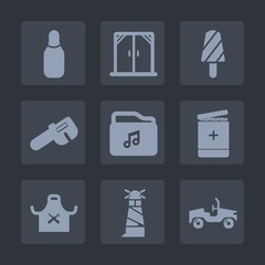 Premium set of fill icons. Such as leisure, vehicle, beacon, repair, car, graphic, frame, interior, modern, ocean, snack, fruit, food, medical, wrench, chief, frozen, dessert, cone, popsicle, summer